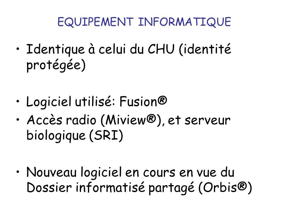 EQUIPEMENT INFORMATIQUE Identique à celui du CHU (identité protégée) Logiciel utilisé: Fusion® Accès radio (Miview®), et serveur biologique (SRI) Nouv