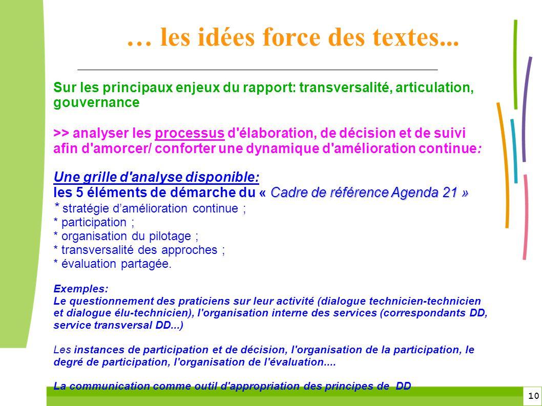 10 Sur les principaux enjeux du rapport: transversalité, articulation, gouvernance >> analyser les processus d'élaboration, de décision et de suivi af