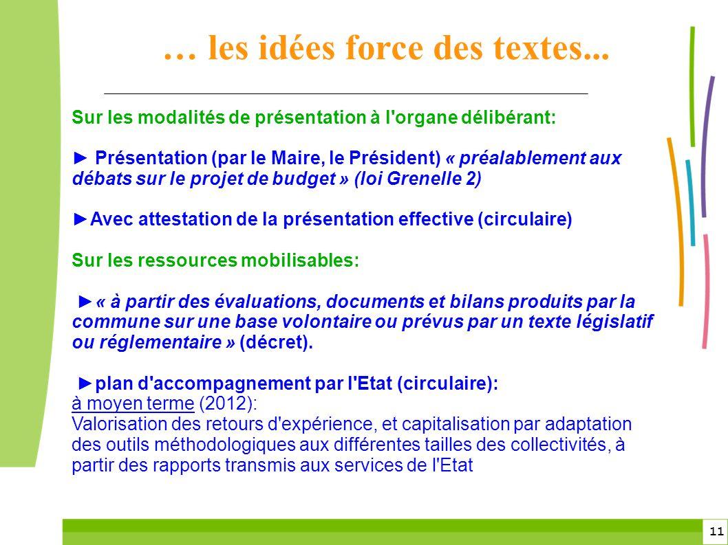 11 Sur les modalités de présentation à l'organe délibérant: Présentation (par le Maire, le Président) « préalablement aux débats sur le projet de budg