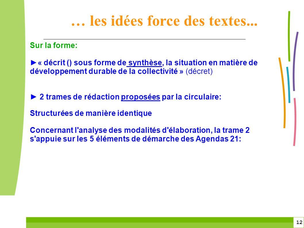12 Sur la forme: « décrit () sous forme de synthèse, la situation en matière de développement durable de la collectivité » (décret) 2 trames de rédact