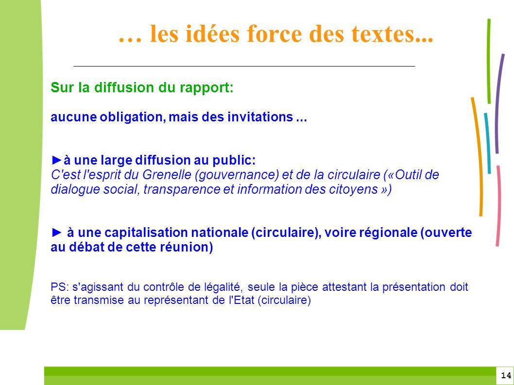 14 Sur la diffusion du rapport: aucune obligation, mais des invitations... à une large diffusion au public: C'est l'esprit du Grenelle (gouvernance) e