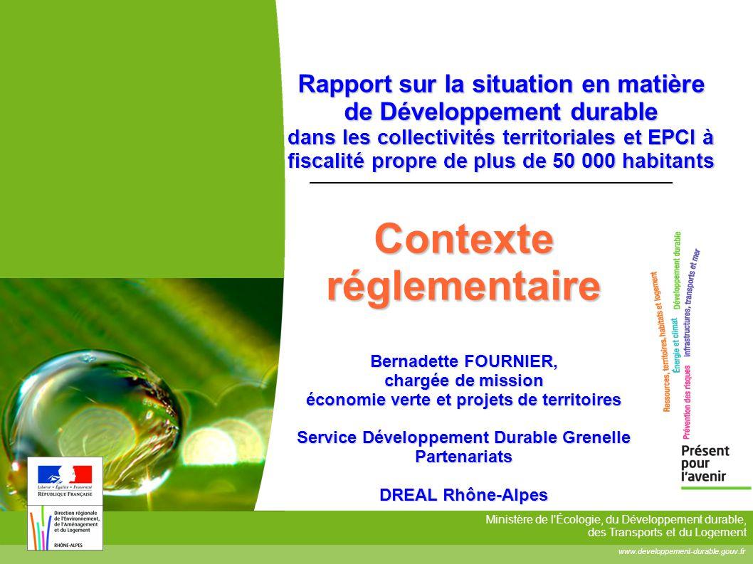 Ministère de l'Écologie, du Développement durable, des Transports et du Logement www.developpement-durable.gouv.fr Rapport sur la situation en matière