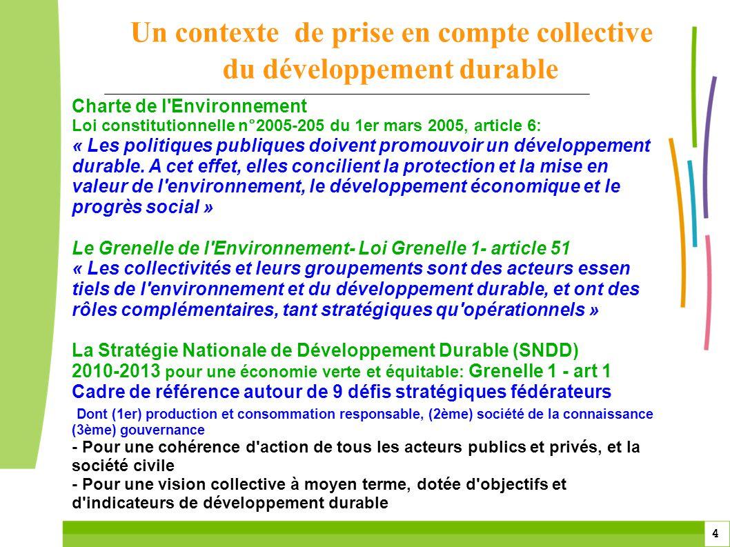 4 4 Charte de l'Environnement Loi constitutionnelle n°2005-205 du 1er mars 2005, article 6: « Les politiques publiques doivent promouvoir un développe
