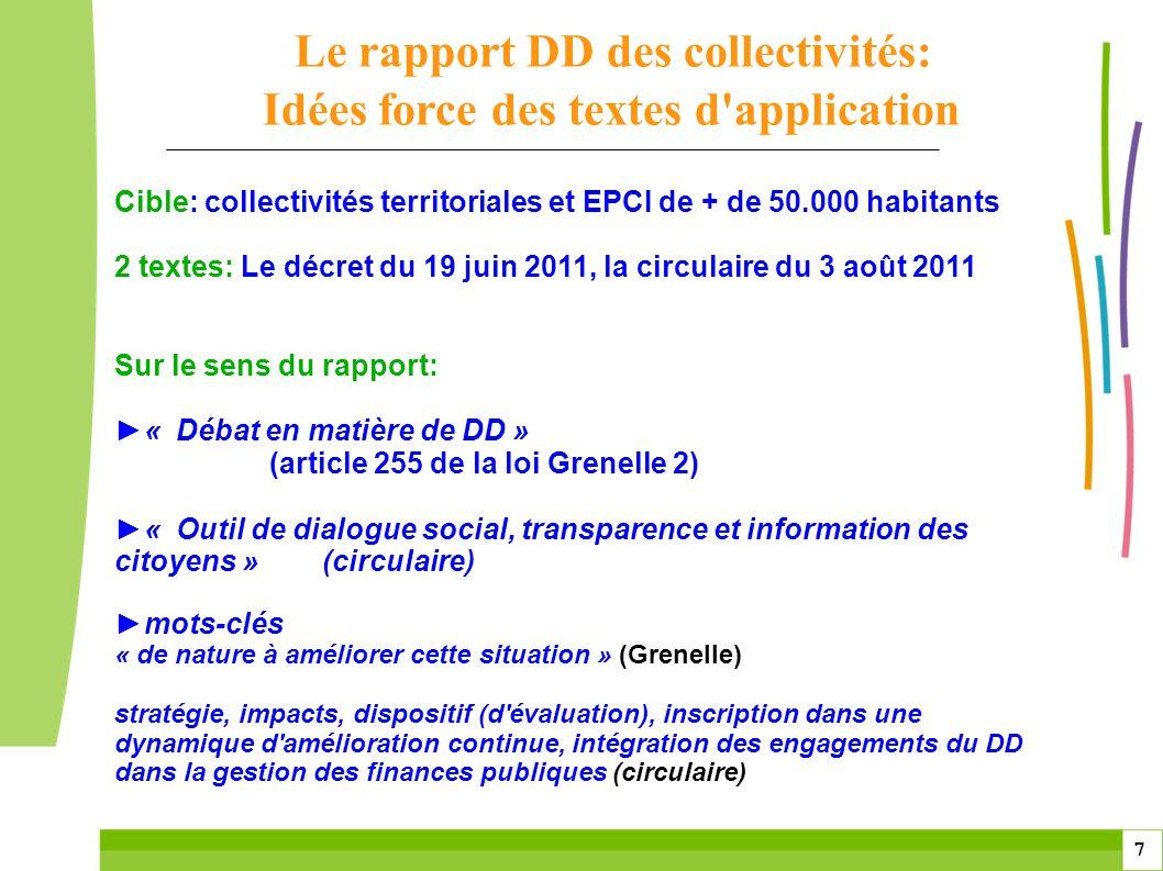 7 7 Cible: collectivités territoriales et EPCI de + de 50.000 habitants 2 textes: Le décret du 19 juin 2011, la circulaire du 3 août 2011 Sur le sens