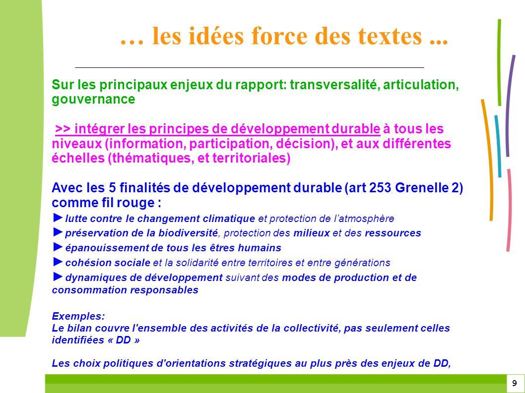 9 9 Sur les principaux enjeux du rapport: transversalité, articulation, gouvernance >> intégrer les principes de développement durable à tous les nive