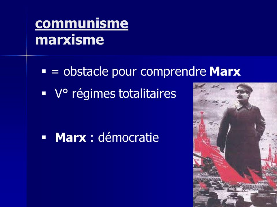 = obstacle pour comprendre Marx V° régimes totalitaires Marx : démocratie communisme marxisme