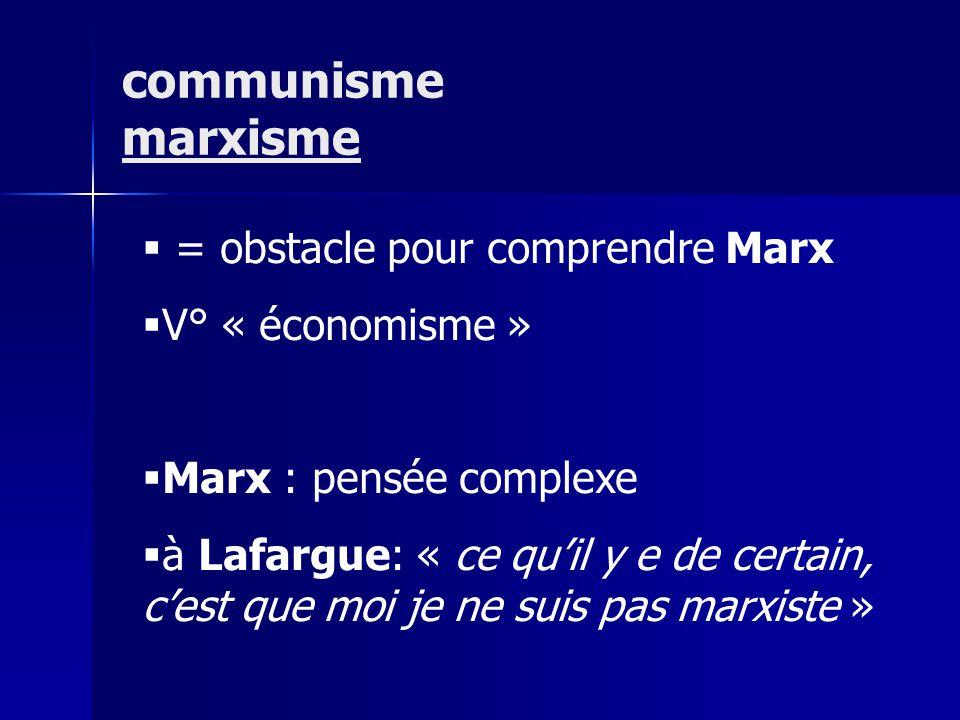 = obstacle pour comprendre Marx V° « économisme » Marx : pensée complexe à Lafargue: « ce quil y e de certain, cest que moi je ne suis pas marxiste »