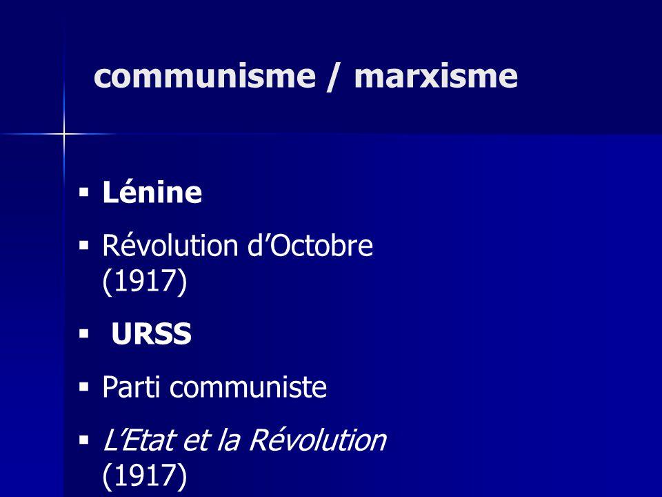 Lénine Révolution dOctobre (1917) URSS Parti communiste LEtat et la Révolution (1917) communisme / marxisme