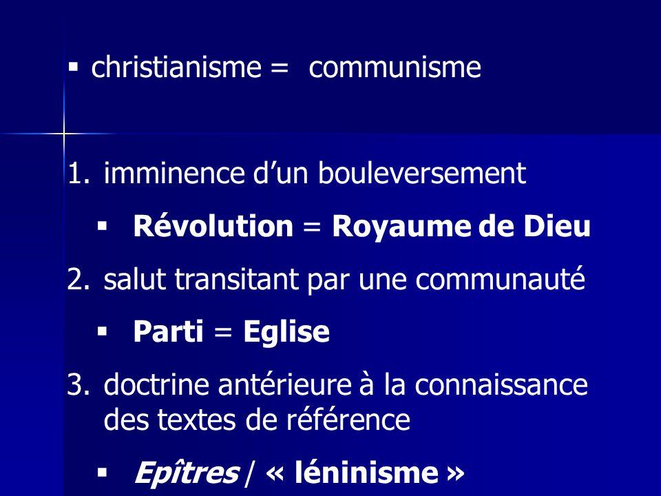 christianisme = communisme 1.imminence dun bouleversement Révolution = Royaume de Dieu 2.salut transitant par une communauté Parti = Eglise 3.doctrine