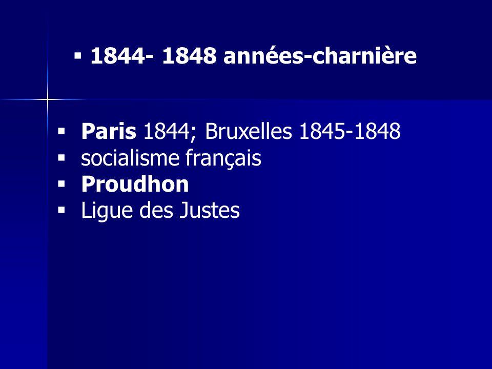 Paris 1844; Bruxelles 1845-1848 socialisme français Proudhon Ligue des Justes 1844- 1848 années-charnière