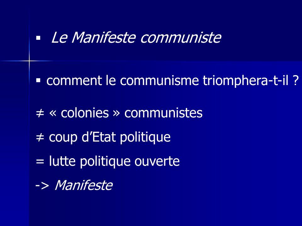 Le Manifeste communiste comment le communisme triomphera-t-il ? « colonies » communistes coup dEtat politique = lutte politique ouverte -> Manifeste