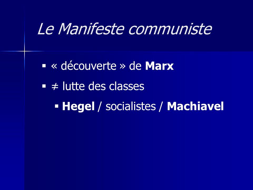 « découverte » de Marx lutte des classes Hegel / socialistes / Machiavel Le Manifeste communiste
