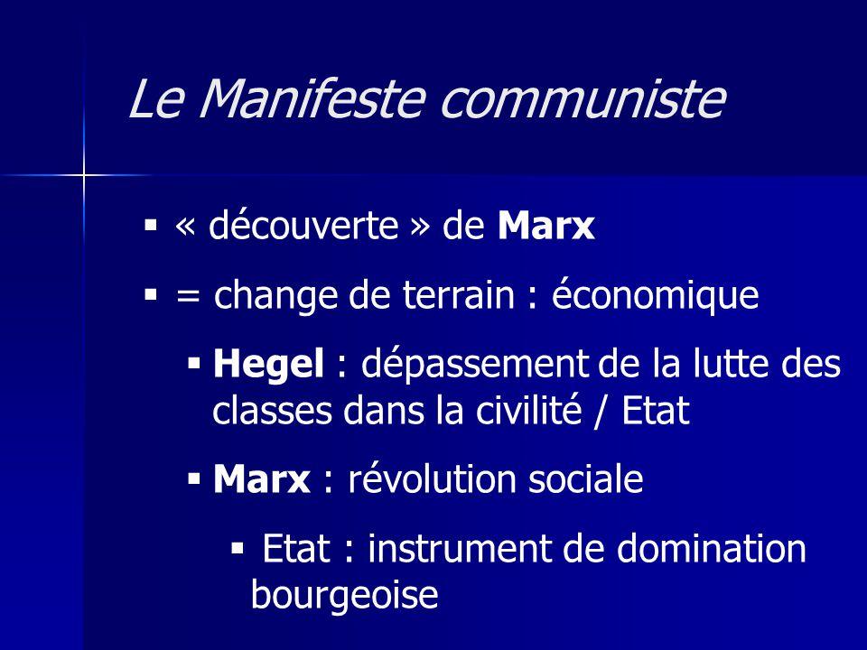 « découverte » de Marx = change de terrain : économique Hegel : dépassement de la lutte des classes dans la civilité / Etat Marx : révolution sociale