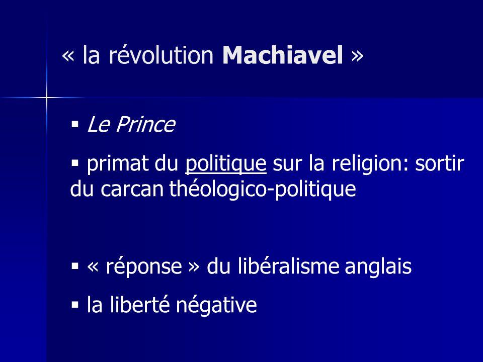 Le Prince primat du politique sur la religion: sortir du carcan théologico-politique « réponse » du libéralisme anglais la liberté négative « la révol