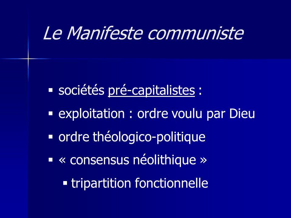 sociétés pré-capitalistes : exploitation : ordre voulu par Dieu ordre théologico-politique « consensus néolithique » tripartition fonctionnelle Le Man