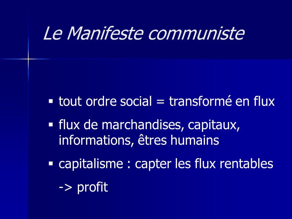 tout ordre social = transformé en flux flux de marchandises, capitaux, informations, êtres humains capitalisme : capter les flux rentables -> profit L