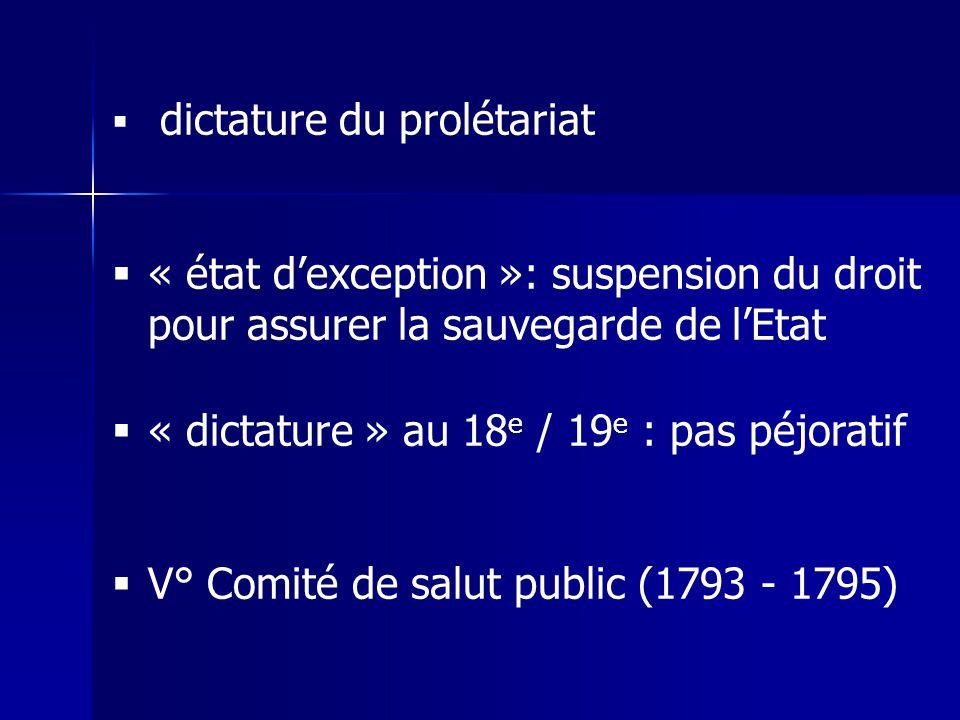 dictature du prolétariat « état dexception »: suspension du droit pour assurer la sauvegarde de lEtat « dictature » au 18 e / 19 e : pas péjoratif V°