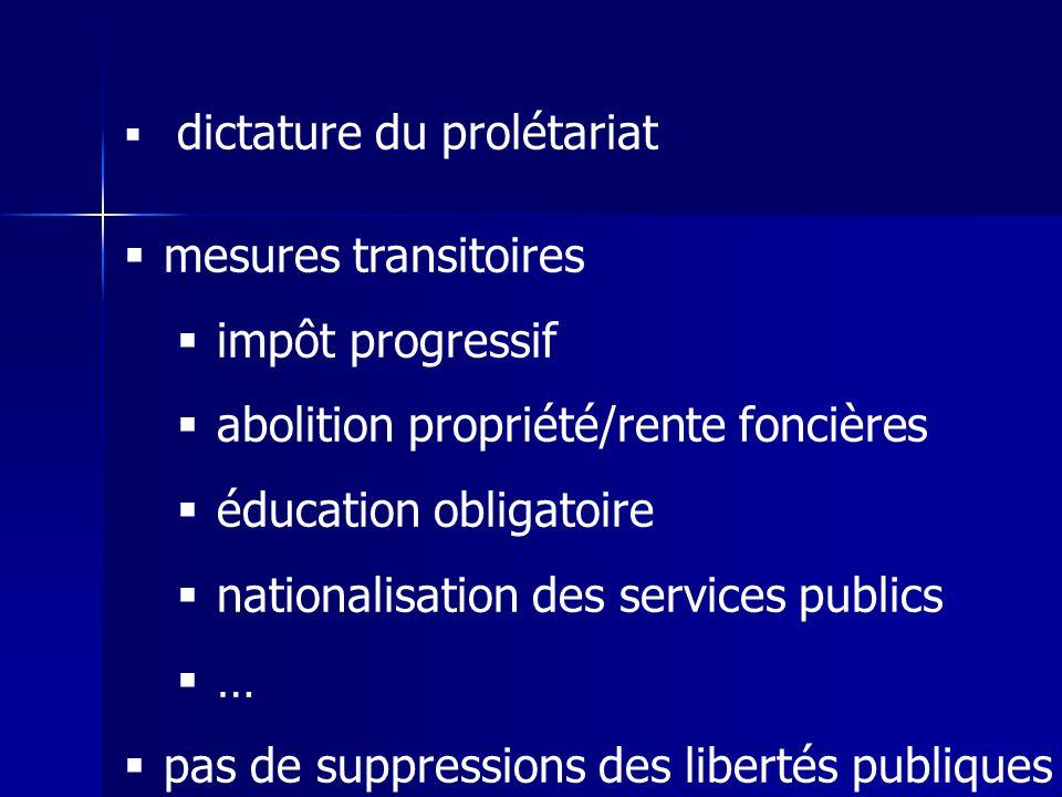 dictature du prolétariat mesures transitoires impôt progressif abolition propriété/rente foncières éducation obligatoire nationalisation des services