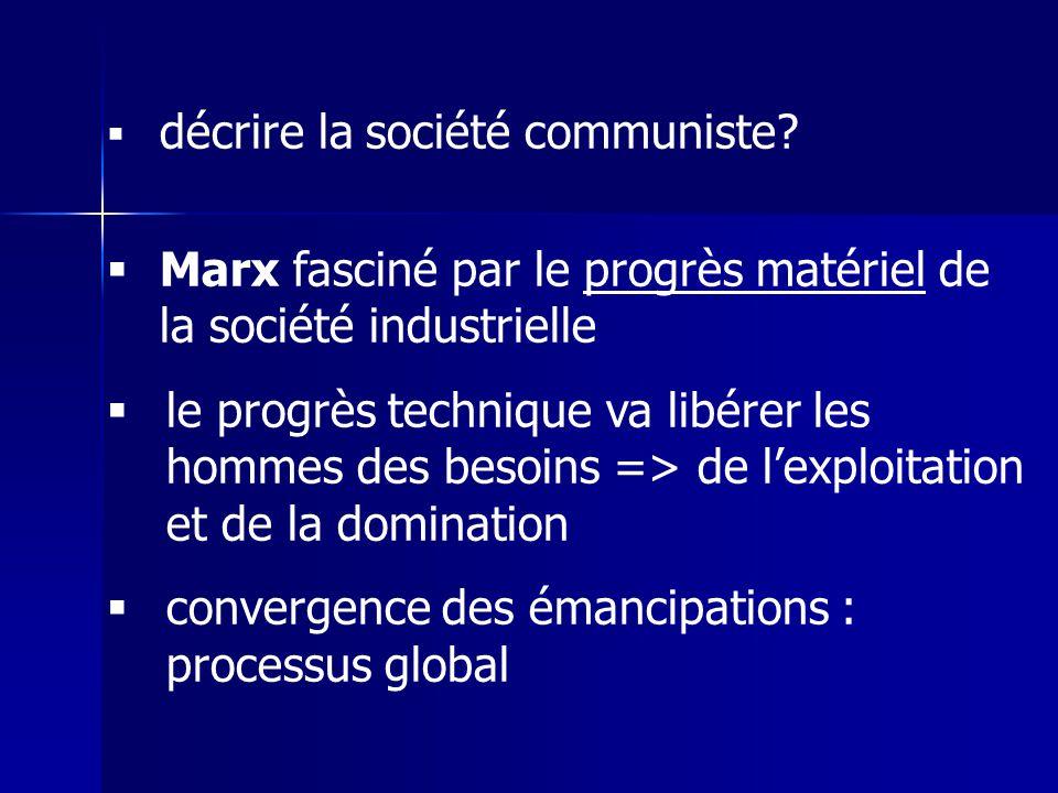 décrire la société communiste? Marx fasciné par le progrès matériel de la société industrielle le progrès technique va libérer les hommes des besoins