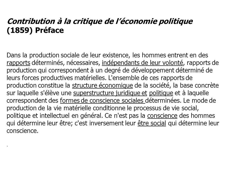 Contribution à la critique de léconomie politique (1859) Préface Dans la production sociale de leur existence, les hommes entrent en des rapports déte