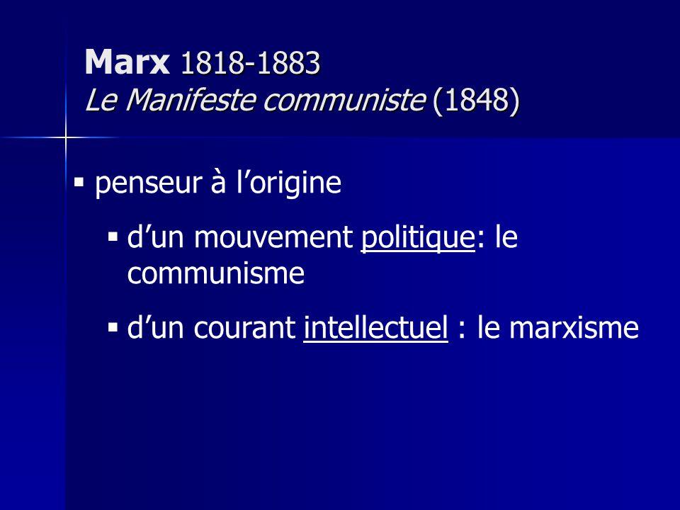 « découverte » de Marx = change de terrain : économique Hegel : dépassement de la lutte des classes dans la civilité / Etat Marx : révolution sociale Etat : instrument de domination bourgeoise Le Manifeste communiste