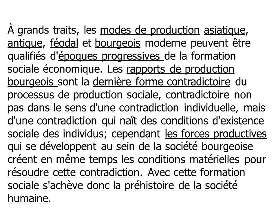 À grands traits, les modes de production asiatique, antique, féodal et bourgeois moderne peuvent être qualifiés d'époques progressives de la formation