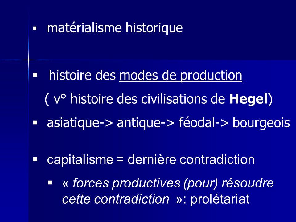 matérialisme historique histoire des modes de production ( v° histoire des civilisations de Hegel) asiatique-> antique-> féodal-> bourgeois capitalism