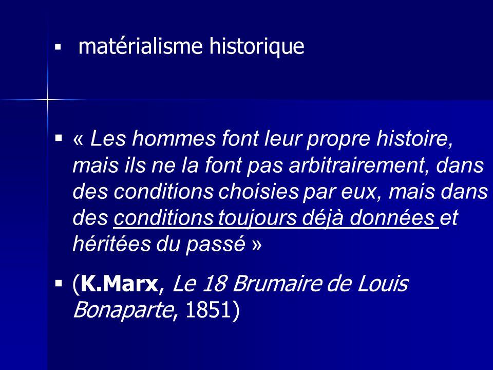 matérialisme historique « Les hommes font leur propre histoire, mais ils ne la font pas arbitrairement, dans des conditions choisies par eux, mais dan