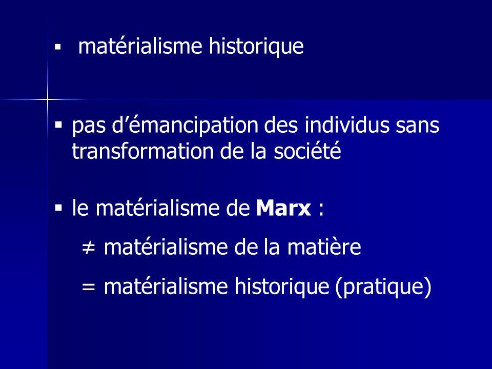 matérialisme historique pas démancipation des individus sans transformation de la société le matérialisme de Marx : matérialisme de la matière = matér