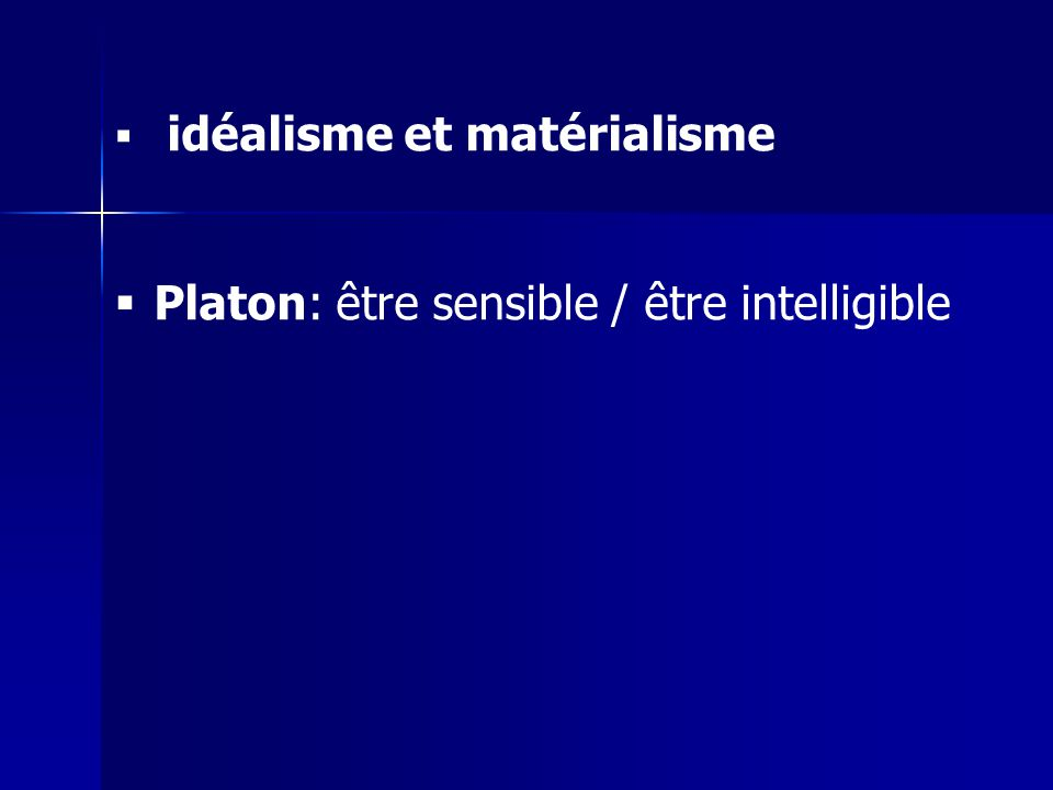 idéalisme et matérialisme Platon: être sensible / être intelligible