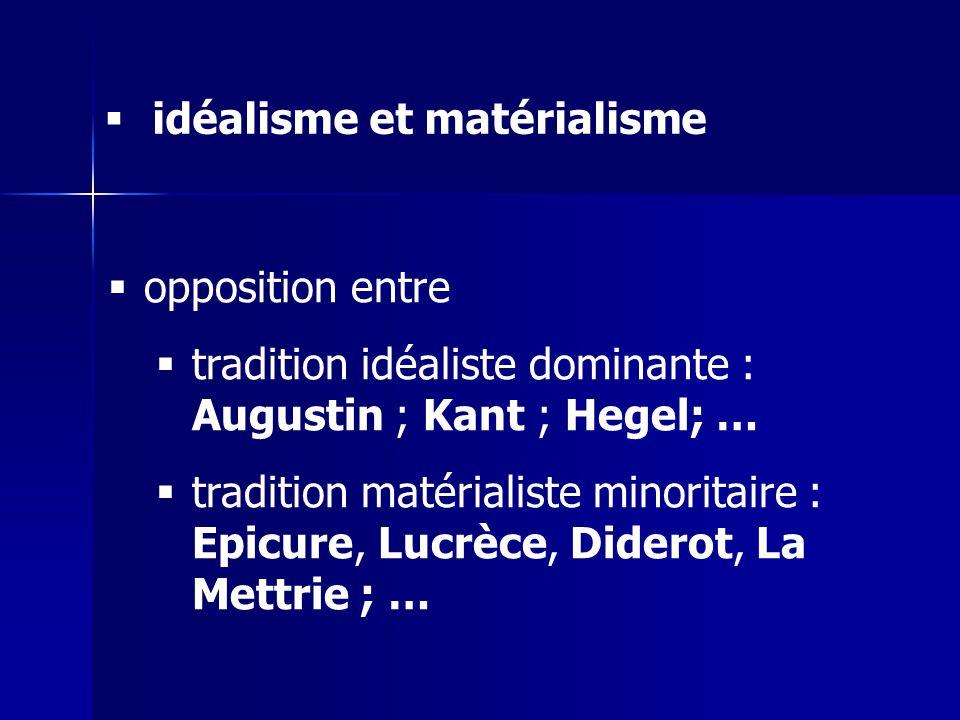 opposition entre tradition idéaliste dominante : Augustin ; Kant ; Hegel; … tradition matérialiste minoritaire : Epicure, Lucrèce, Diderot, La Mettrie