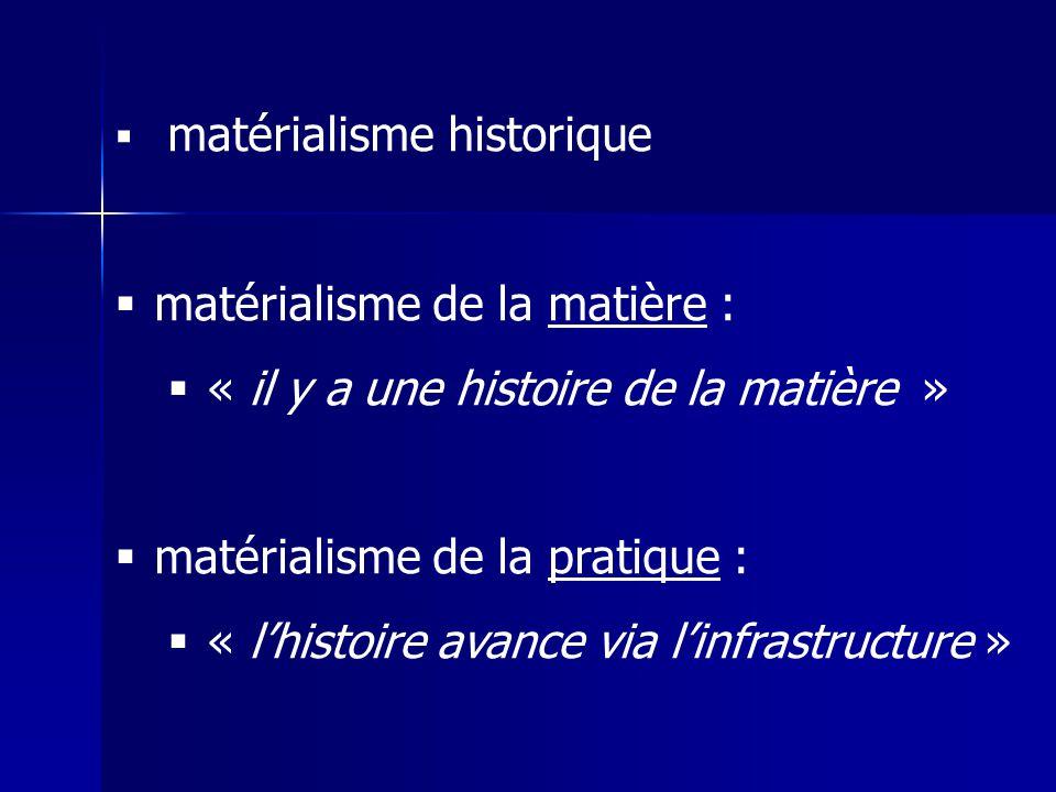 matérialisme historique matérialisme de la matière : « il y a une histoire de la matière » matérialisme de la pratique : « lhistoire avance via linfra