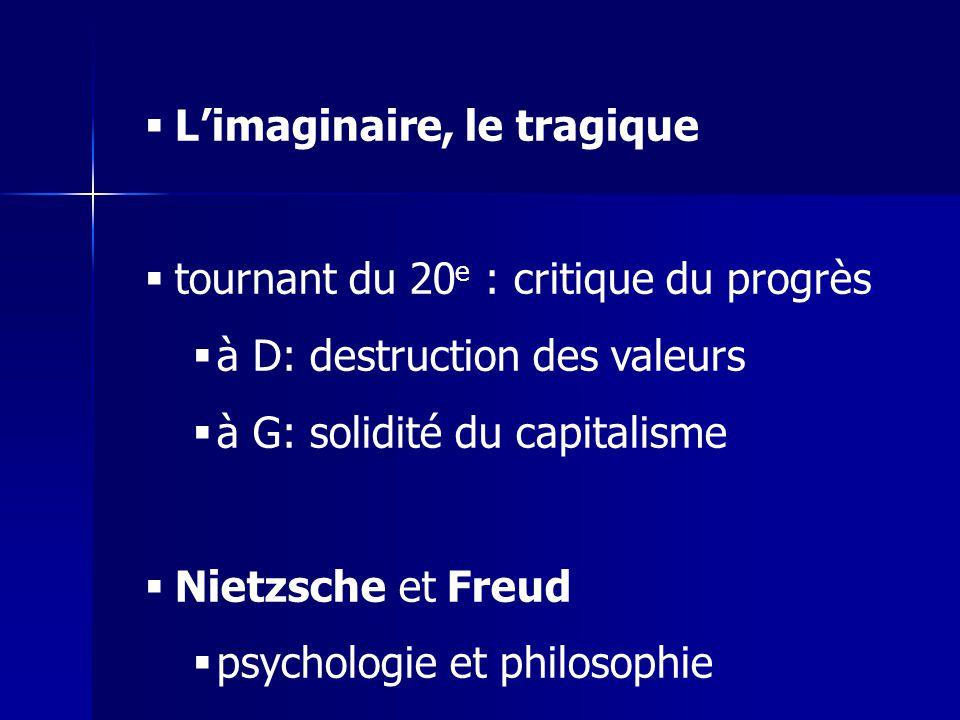 Limaginaire, le tragique tournant du 20 e : critique du progrès à D: destruction des valeurs à G: solidité du capitalisme Nietzsche et Freud psycholog