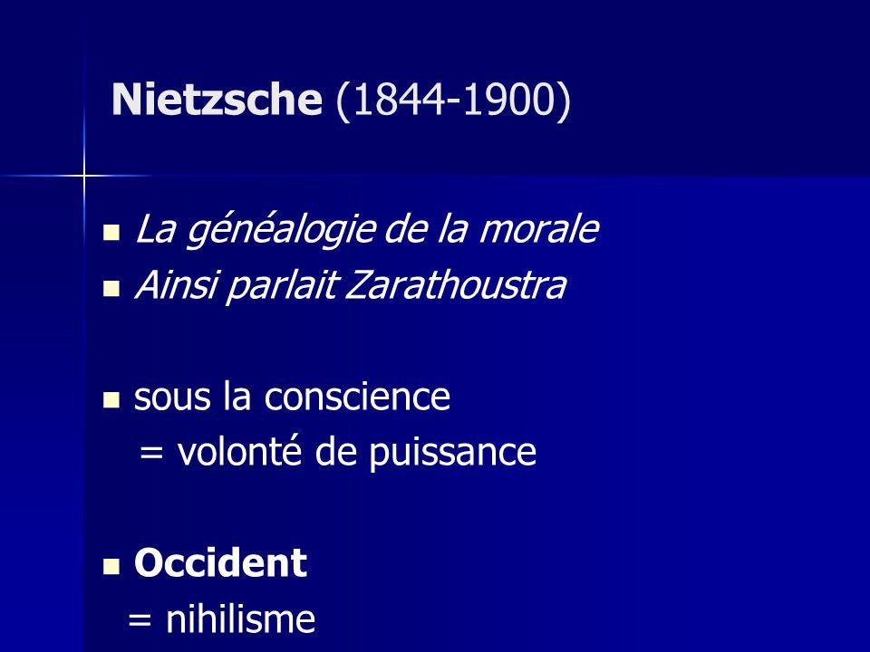 La généalogie de la morale Ainsi parlait Zarathoustra sous la conscience = volonté de puissance Occident = nihilisme Nietzsche (1844-1900)