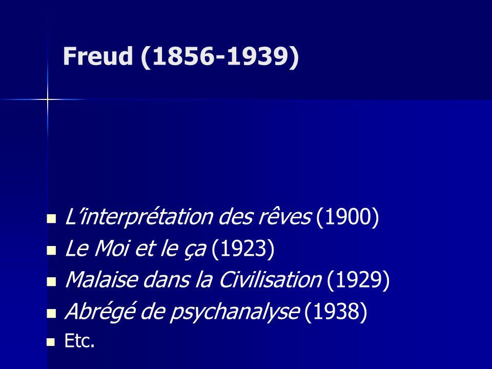 Linterprétation des rêves (1900) Le Moi et le ça (1923) Malaise dans la Civilisation (1929) Abrégé de psychanalyse (1938) Etc. Freud (1856-1939)