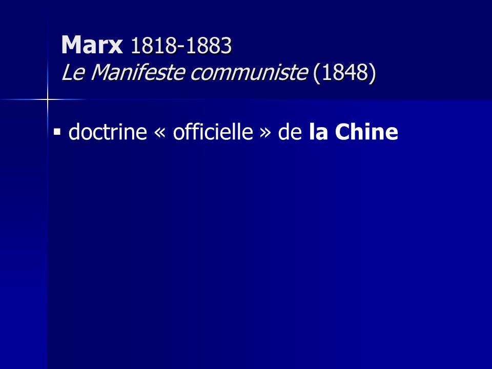 doctrine « officielle » de la Chine 1818-1883 Le Manifeste communiste (1848) Marx 1818-1883 Le Manifeste communiste (1848)