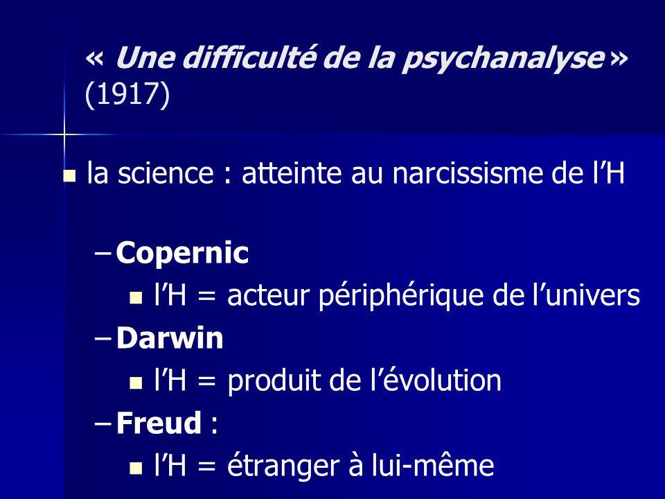 la science : atteinte au narcissisme de lH – –Copernic lH = acteur périphérique de lunivers – –Darwin lH = produit de lévolution – –Freud : lH = étran