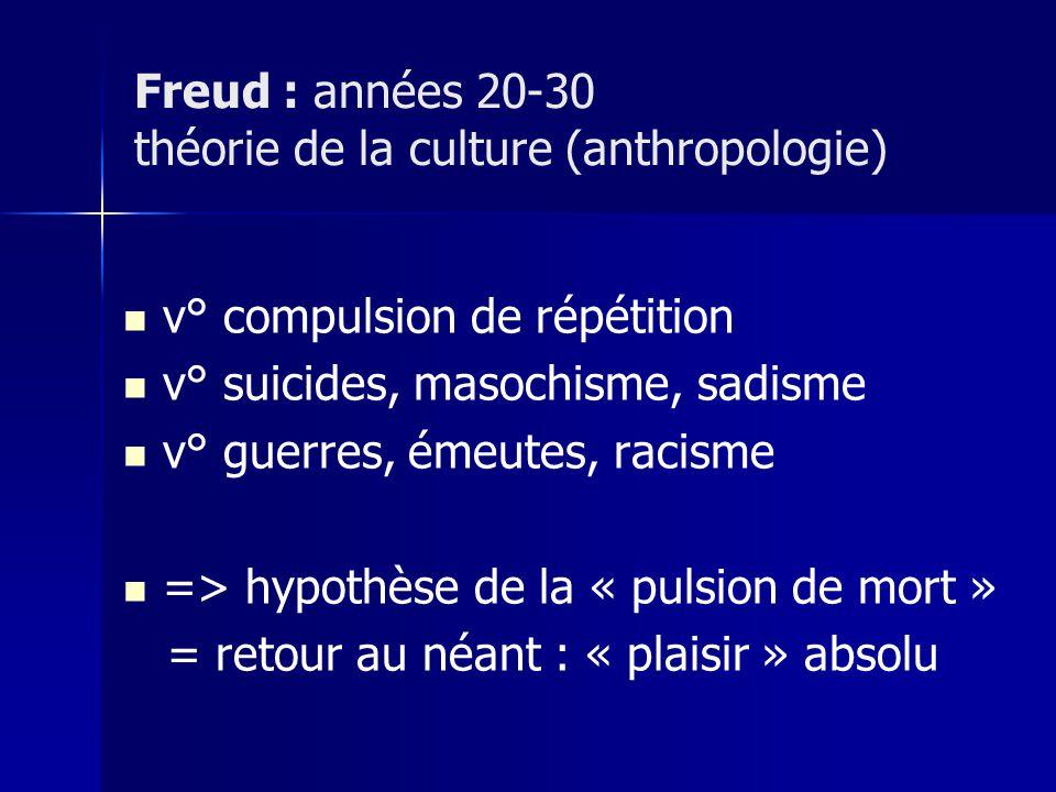 v° compulsion de répétition v° suicides, masochisme, sadisme v° guerres, émeutes, racisme => hypothèse de la « pulsion de mort » = retour au néant : «