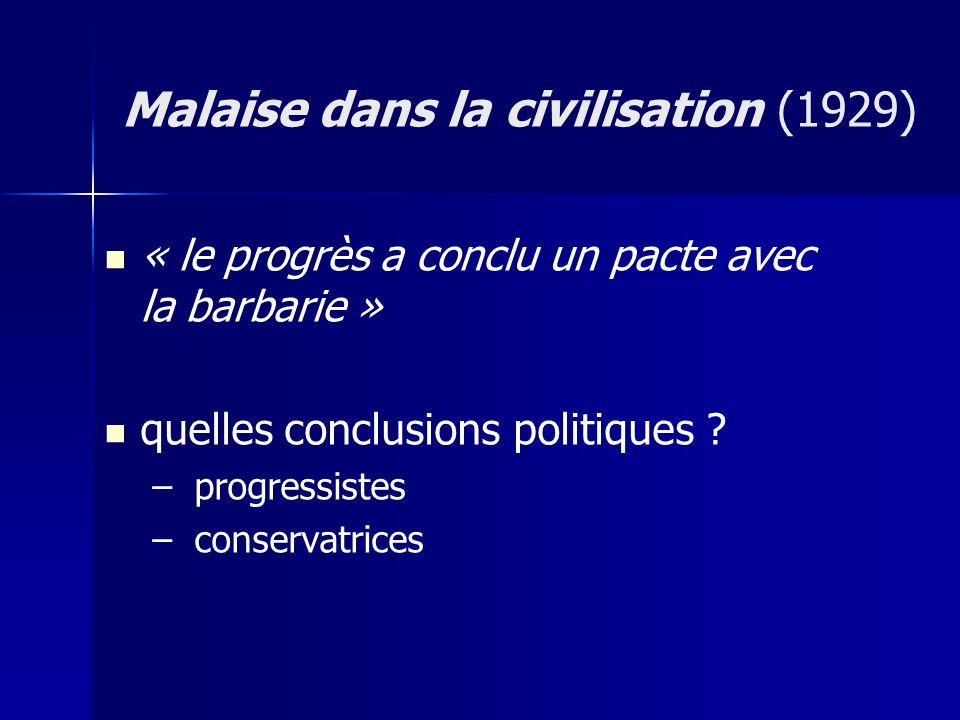 « le progrès a conclu un pacte avec la barbarie » quelles conclusions politiques ? – – progressistes – – conservatrices Malaise dans la civilisation (