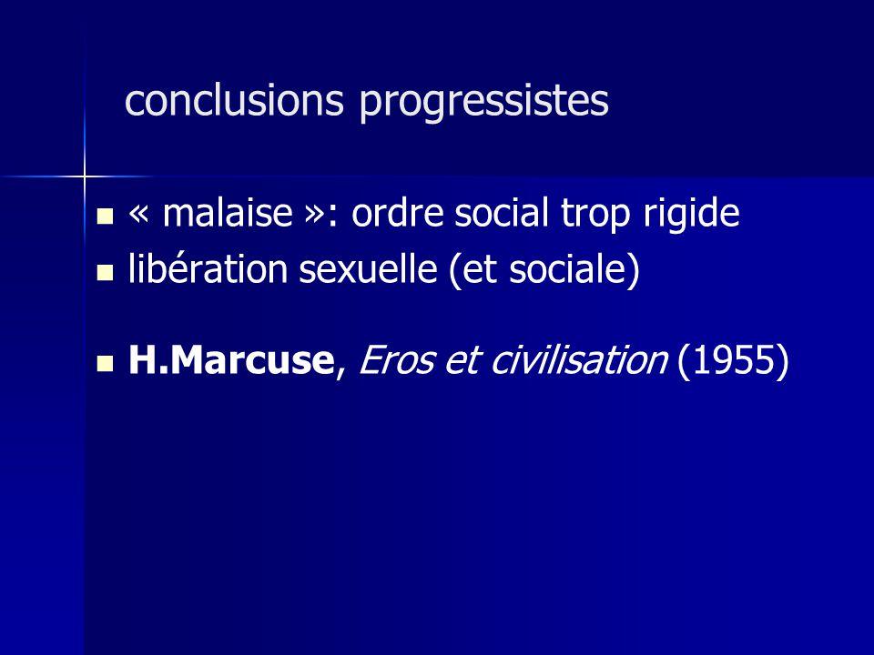 « malaise »: ordre social trop rigide libération sexuelle (et sociale) H.Marcuse, Eros et civilisation (1955) conclusions progressistes