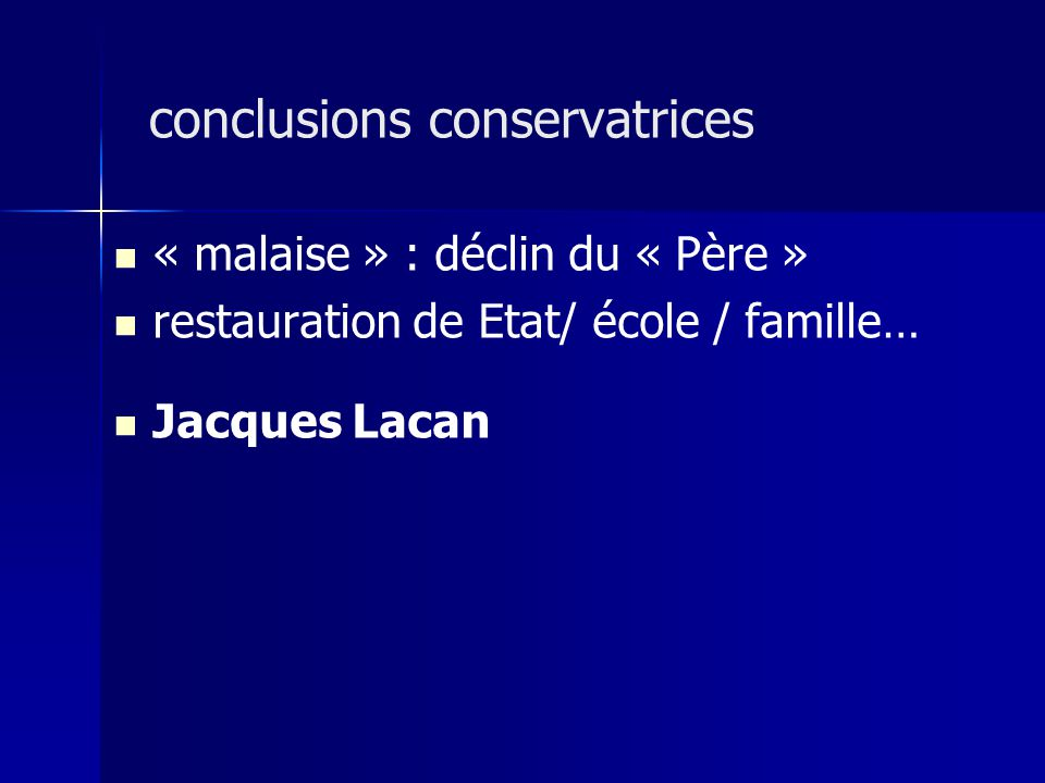 « malaise » : déclin du « Père » restauration de Etat/ école / famille… Jacques Lacan conclusions conservatrices