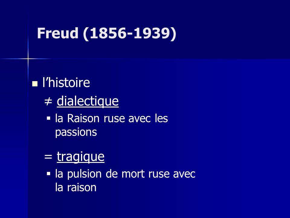 lhistoire dialectique la Raison ruse avec les passions = tragique la pulsion de mort ruse avec la raison Freud (1856-1939)