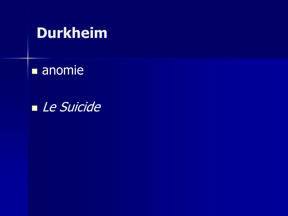 anomie Le Suicide Durkheim