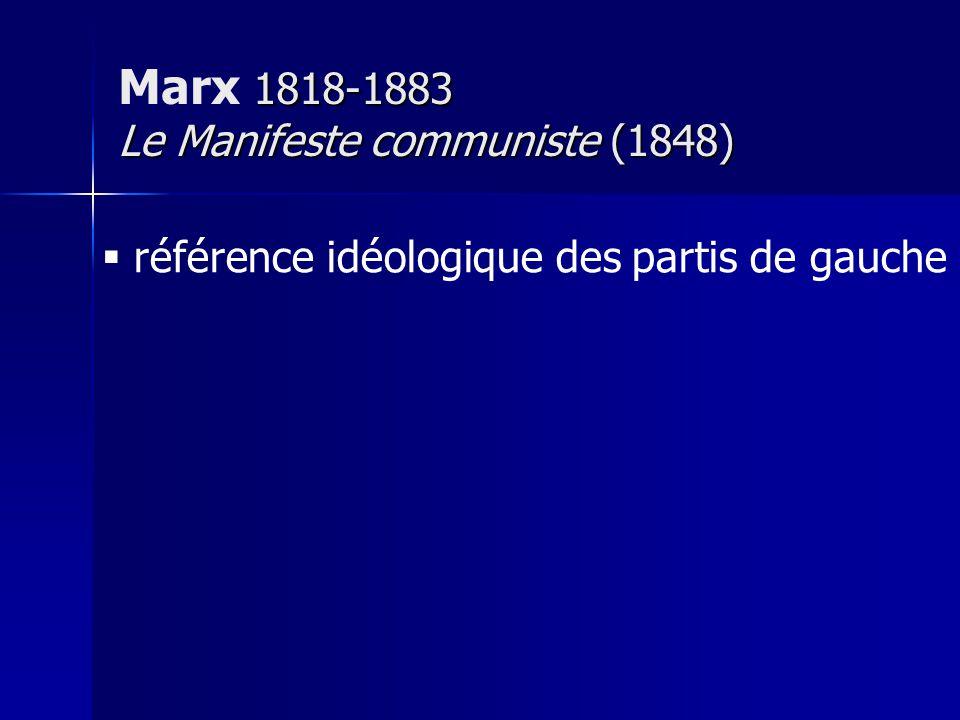 référence idéologique des partis de gauche 1818-1883 Le Manifeste communiste (1848) Marx 1818-1883 Le Manifeste communiste (1848)