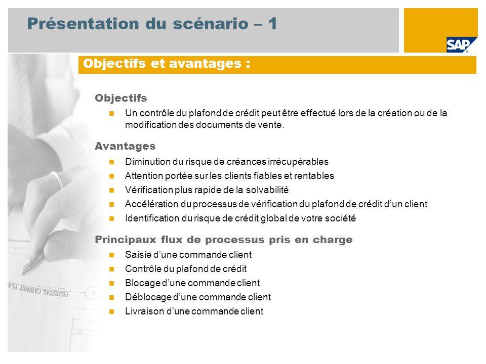 Présentation du scénario – 1 Objectifs Un contrôle du plafond de crédit peut être effectué lors de la création ou de la modification des documents de