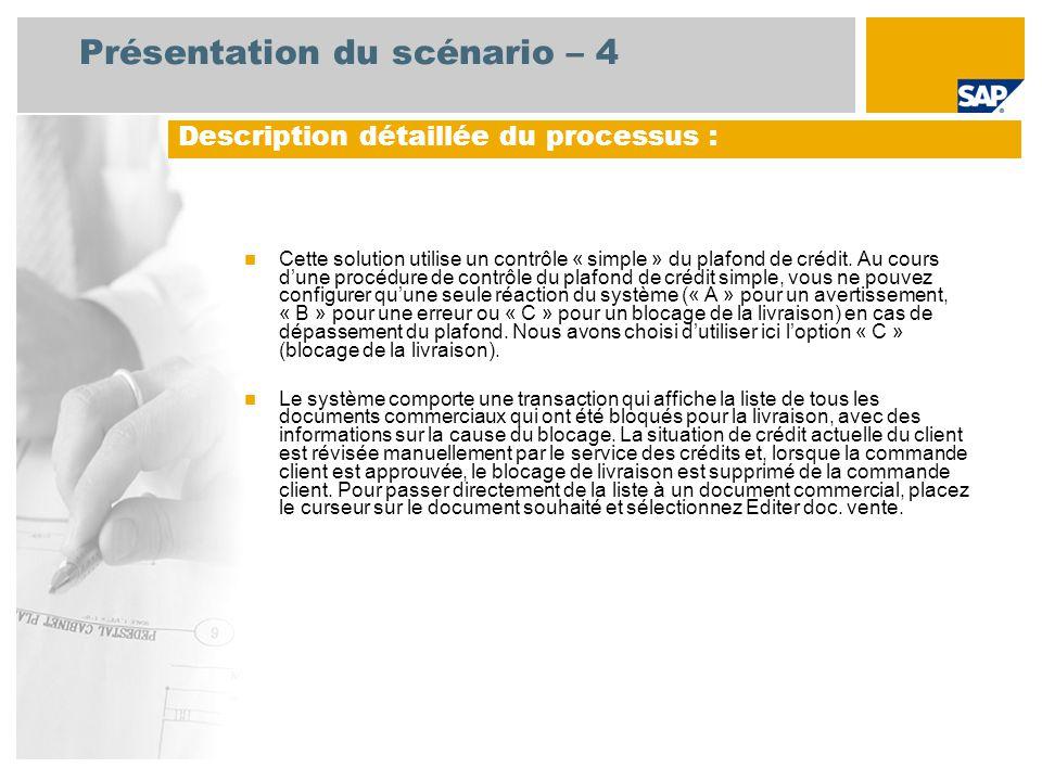 Présentation du scénario – 4 Cette solution utilise un contrôle « simple » du plafond de crédit. Au cours dune procédure de contrôle du plafond de cré