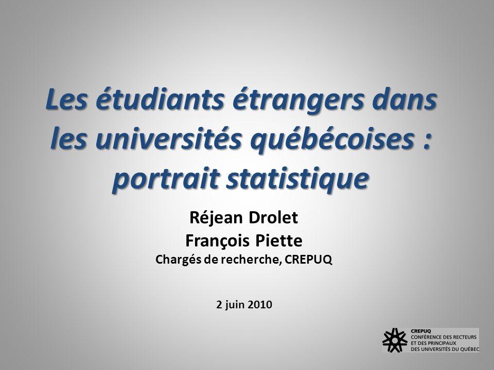 Les étudiants étrangers dans les universités québécoises : portrait statistique Réjean Drolet François Piette Chargés de recherche, CREPUQ 2 juin 2010