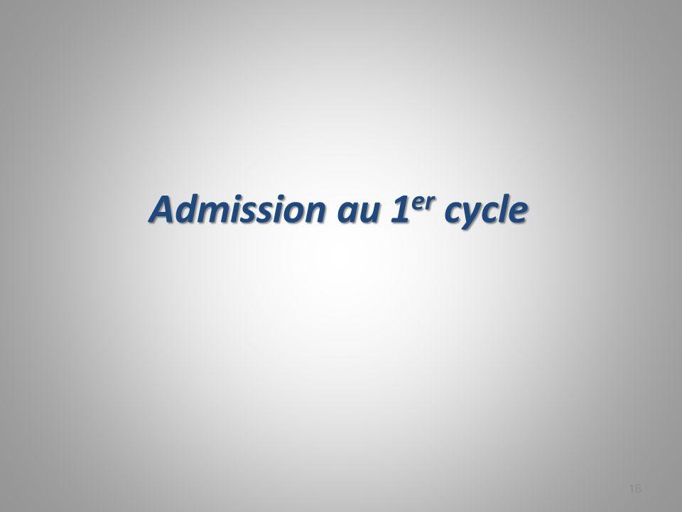 Admission au 1 er cycle 18