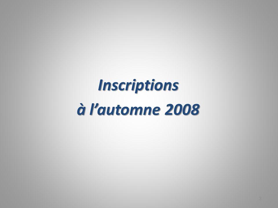 14 Tableau 2 Les 6 plus fortes décroissances en termes d inscriptions dans les universités québécoises, selon le pays de citoyenneté, entre les trimestres d automne 2001 et d automne 2008 Rang Pays de citoyennetéAut.