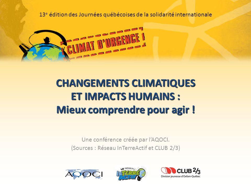 CHANGEMENTS CLIMATIQUES ET IMPACTS HUMAINS : Mieux comprendre pour agir .